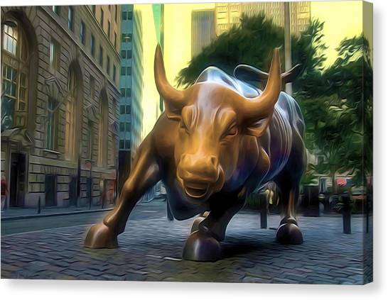 The Landmark Charging Bull In Lower Manhattan 2 Canvas Print