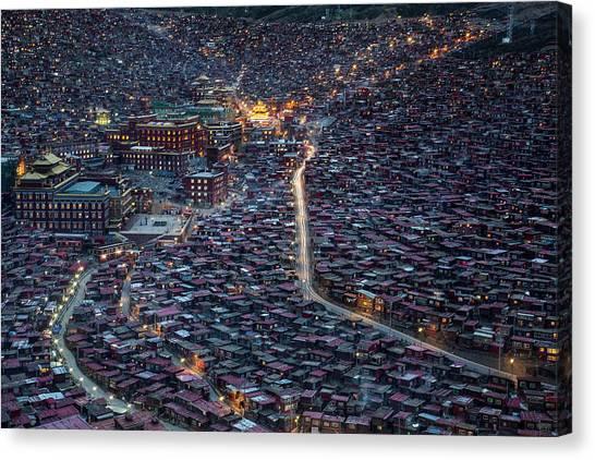 China Canvas Print - The Larung Ngarig Buddhist Academy At Night by Joe B N