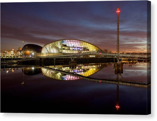 The Last Of The Light At The Glasgow Science Centre Canvas Print