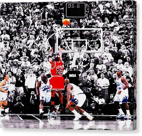 Utah Jazz Canvas Print - The Last Shot by Brian Reaves