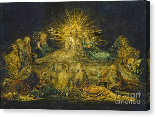 Banquet Canvas Print - The Last Supper by William Blake
