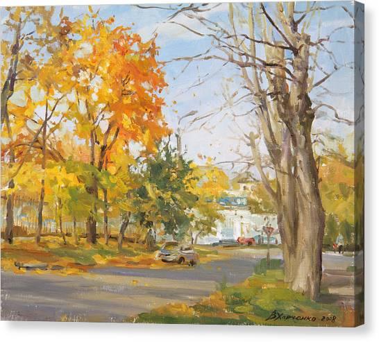 City Landscape Canvas Print - The Last Warm Day by Victoria Kharchenko