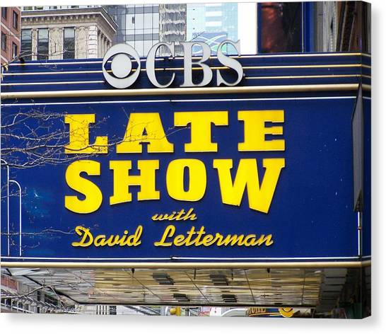 Johnny Carson Canvas Print - The Late Show With David Letterman by Kenneth Summers