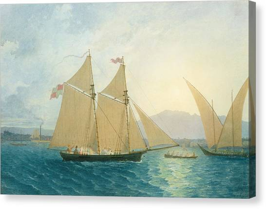 Boats Canvas Print - The Launch La Sociere On The Lake Of Geneva by Francis  Danby