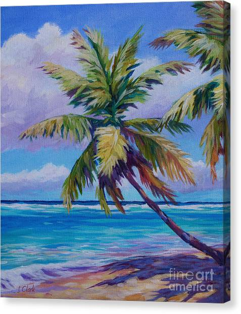 Fiji Canvas Print - The Leaning Palm by John Clark