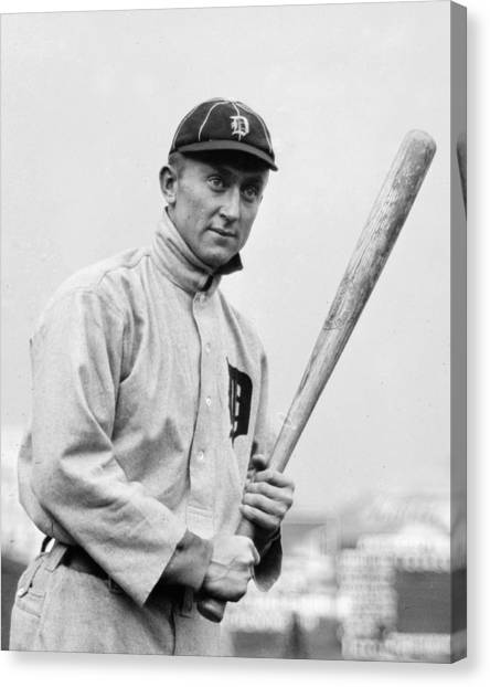Detroit Tigers Canvas Print - The Legendary Ty Cobb by Gianfranco Weiss