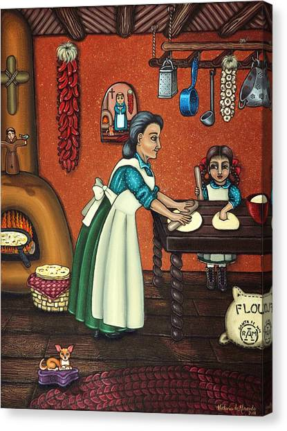 Chihuahuas Canvas Print - The Lesson Or Making Tortillas by Victoria De Almeida