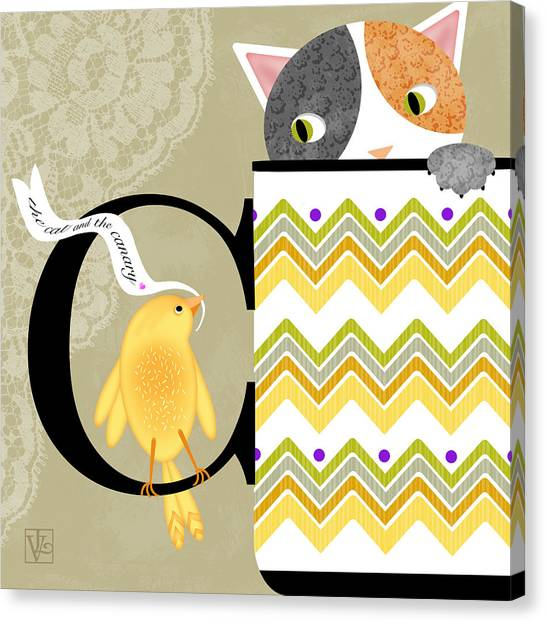 The Letter C For Cat And Canary Canvas Print
