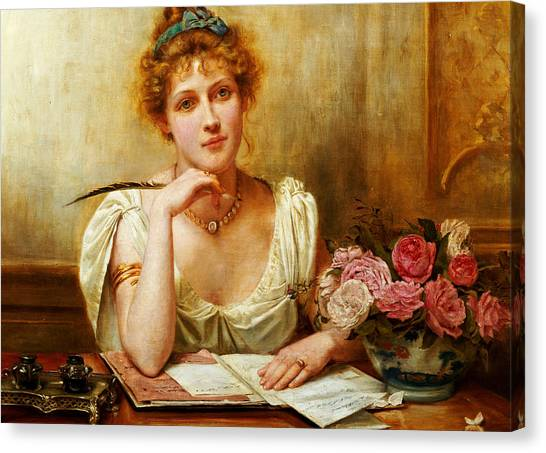 Compose Canvas Print - The Letter  by George Goodwin Kilburne