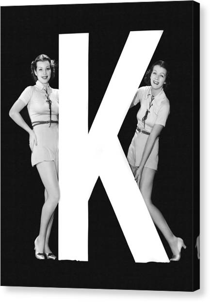 Women Only Canvas Print - The Letter k  And Two Women by Underwood Archives