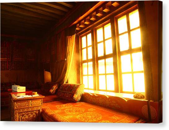 The Light And The Believer's Window Canvas Print