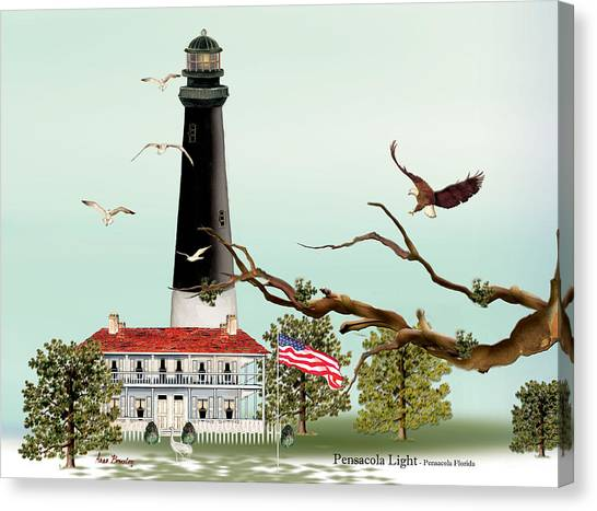 The Light House At Pensacola Canvas Print