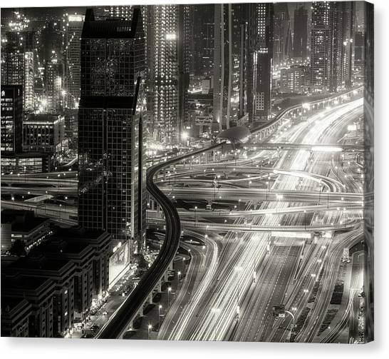The Light River Of Dubai Canvas Print by Ahmed Thabet