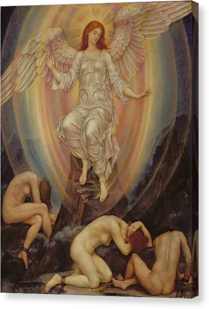 Pre-modern Art Canvas Print - The Light Shineth In Darkness And The Darkness Comprehendeth It Not by Evelyn De Morgan