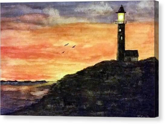 The Lighthouse At Dusk Canvas Print