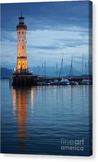 The Lighthouse Of Lindau By Night Canvas Print