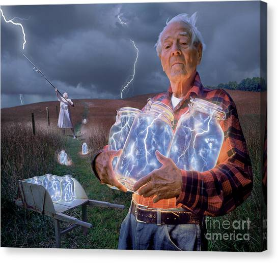 Lightning Canvas Print - The Lightning Catchers by Bryan Allen