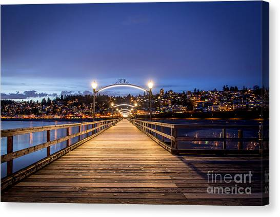 The Lights Of White Rock Beach - By Sabine Edrissi Canvas Print