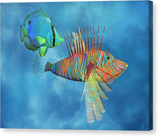 Three Dimensional Canvas Print - The Lion And The Butterfly by Betsy Knapp