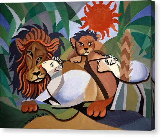 Canvas Print featuring the painting The Lion And The Lamb by Anthony Falbo