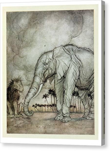 Gnats Canvas Print - The Lion, Jupiter And The Elephant, Illustration From Aesops Fables, Published By Heinemann, 1912 by Arthur Rackham