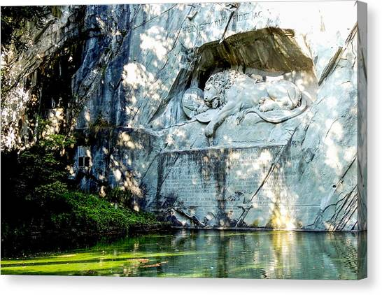 The Lion Monument In Lucerne Switzerland Canvas Print
