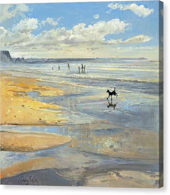 Dog Running Canvas Print - The Little Acrobat Oil On Canvas by Timothy Easton