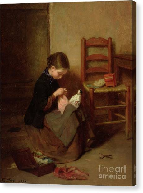 Seamstress Canvas Print - The Little Dressmaker by Pierre Edouard Frere