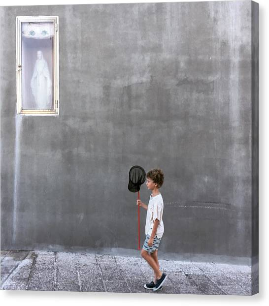 Nets Canvas Print - The Little Fisherman And The Madonna by Lorenzo Grifantini