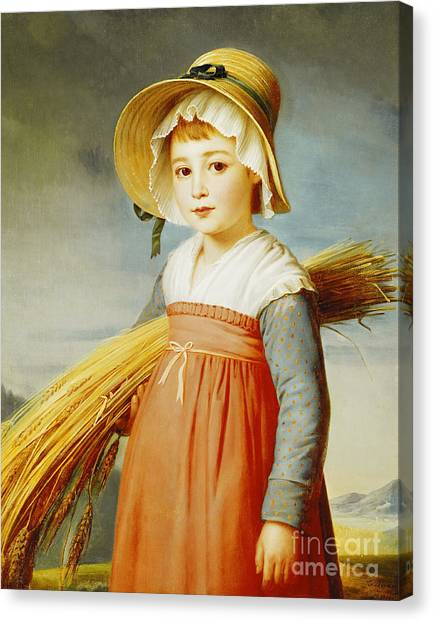Girl Canvas Print - The Little Gleaner by Christophe Thomas Degeorge
