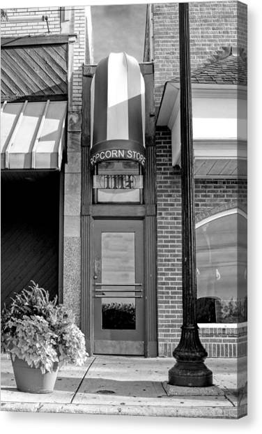 Popcorn Canvas Print - The Little Popcorn Shop In Wheaton Black And White by Christopher Arndt