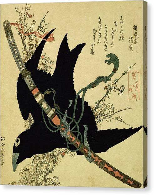 Blackbirds Canvas Print - The Little Raven With The Minamoto Clan Sword by Katsushika Hokusai
