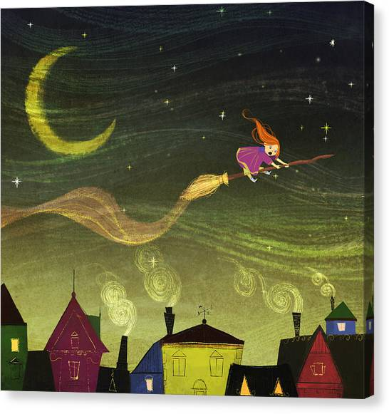 Witches Canvas Print - The Little Witch by Kristina Vardazaryan