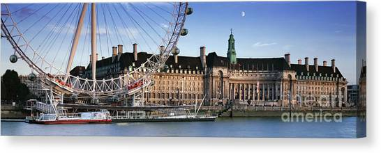 London Eye Canvas Print - The London Eye And County Hall by Rod McLean