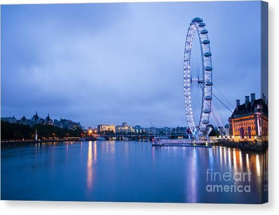 The London Eye Dawn Light Canvas Print by Donald Davis