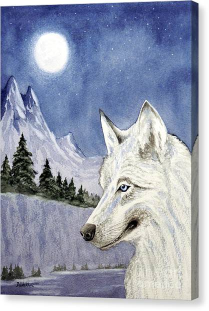 Howling Wolves Canvas Print - The Lone Wolf by Bill Holkham