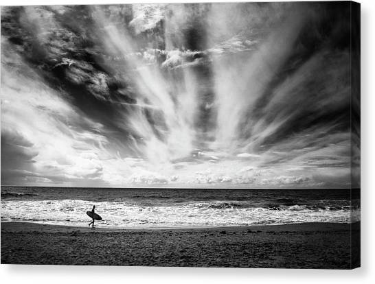 Spain Canvas Print - The Loneliness Of A Surfer by Lorenzo Grifantini