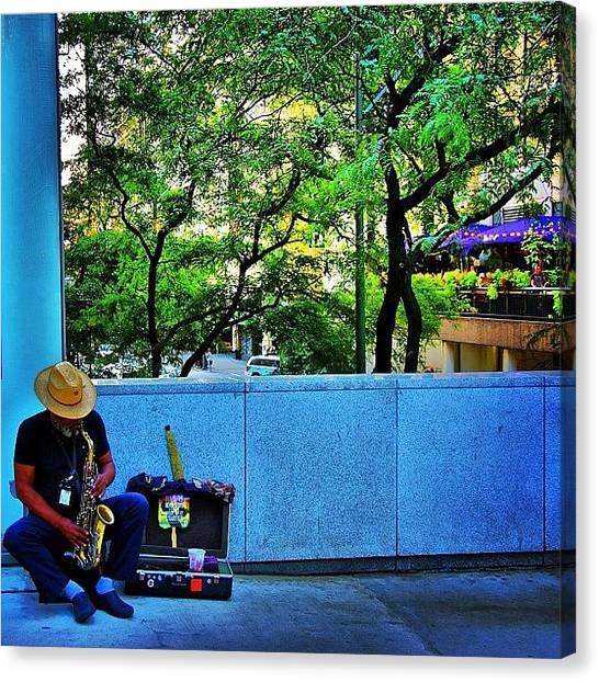 Saxophones Canvas Print - The Lonely Street Musician. #chicago by Brian Stoneman