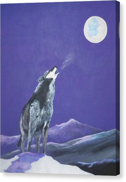 Howling Wolves Canvas Print - The Loner by Dave Farrow