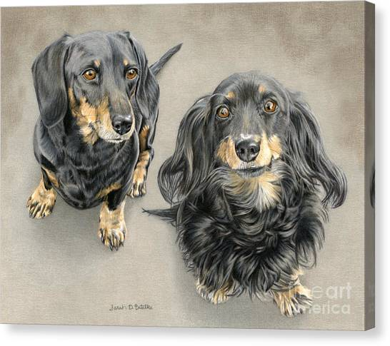 Hot Dogs Canvas Print - The Long And Short Of It by Sarah Batalka