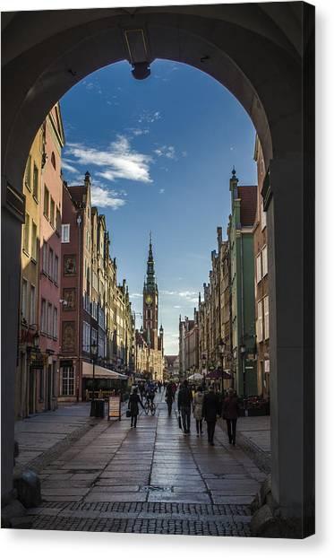 The Long Lane In Gdansk Seen From The Golden Gate Canvas Print by Adam Budziarek