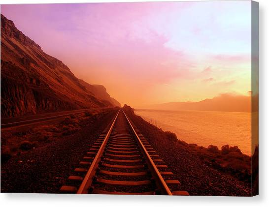 Railroads Canvas Print - The Long Walk To No Where  by Jeff Swan