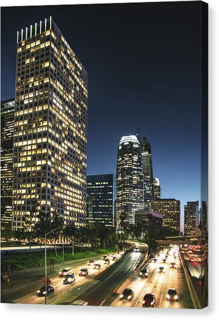 The Los Angeles Downtown Skyline On The Canvas Print by Franckreporter