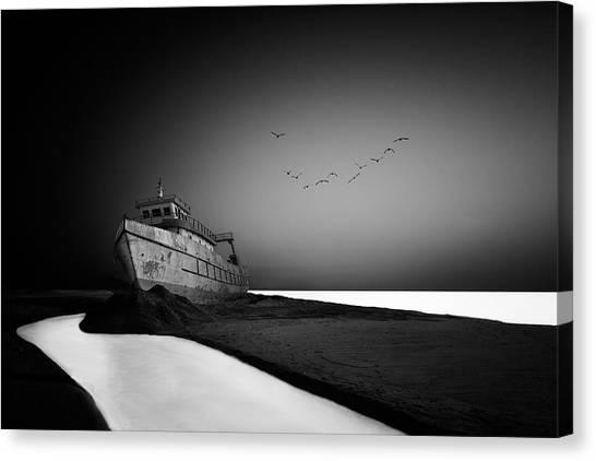 Desolation Canvas Print - The Lost Ship by Sajin Sasidharan