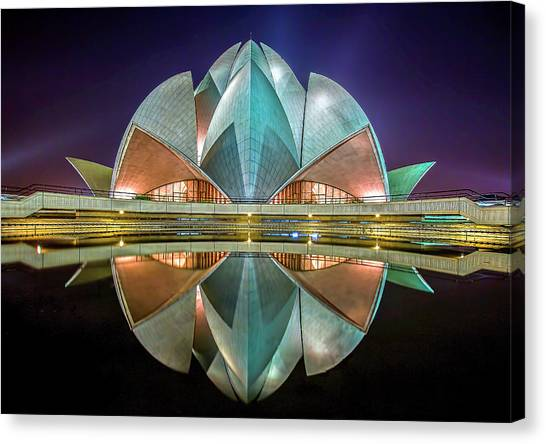 Worship Canvas Print - The Lotus Temple by Jiti Chadha