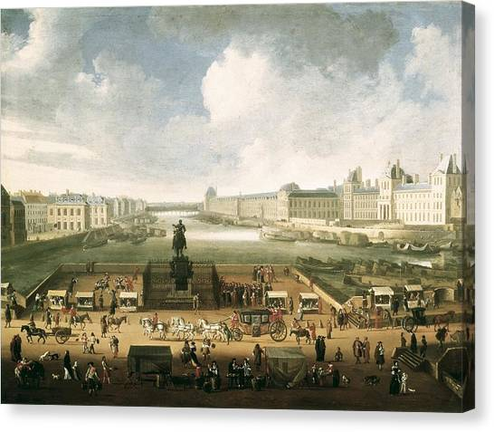 Le Louvre Canvas Print - The Louvre And The Seine From Pont by Everett
