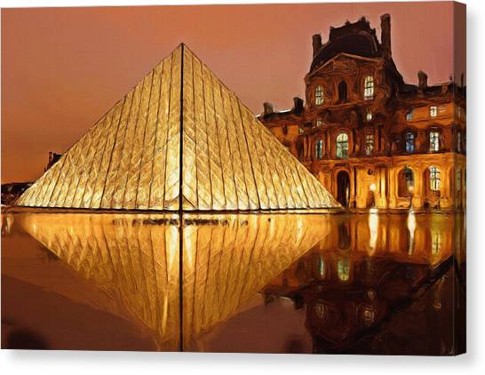 Louvre Canvas Print - The Louvre By Night by Inspirowl Design