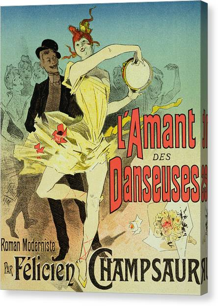 Tambourines Canvas Print - The Lover Of Dancers Poster by Jules Cheret