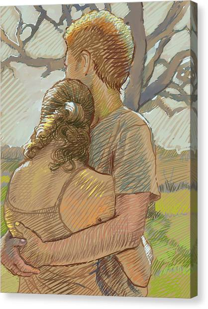 Couple Canvas Print - The Lovers by Dominique Amendola