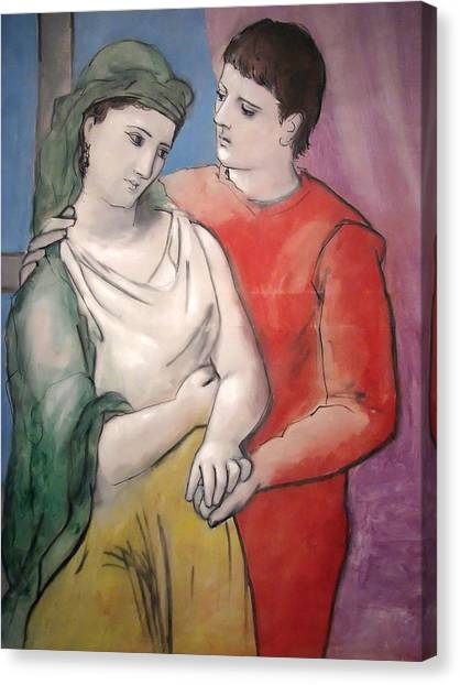 Pablo Picasso Canvas Print - The Lovers by Pablo Picasso